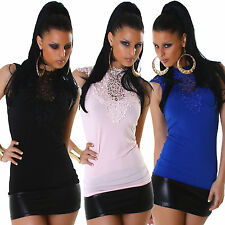 Womens Top Shirt Embroidery fitted S 34 36 elegant sexy plain Party Club