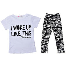1Set Toddler Kids Baby Girls Outfit Clothes T-shirt Tops+Long Pants Trousers