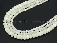 Natural White Mother Of Pearl MOP Shell Faceted Rondell Beads 16' 4mm 6mm 8mm