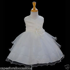IVORY PAGEANT TULLE FLOWER GIRL DRESS WEDDING BRIDESMAID 12-18M 2 4 5T 6 6X 8 10