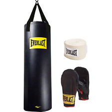 Everlast 100 lb Heavy Bag Kit w gloves & wraps boxing MMA punching training NEW