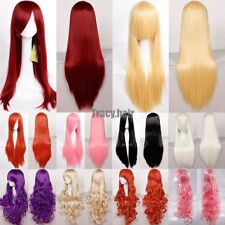 US Ship Halloween Synthetic Hair Cosplay Wigs Full Head Wigs With Bangs Long F6S