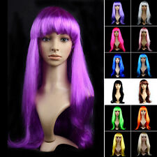 ❦❉Womens Long Curly Wave Hair Wig Straight Colorfull Cosplay Halloween Hair caps