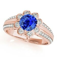 1.25 Ct. Halo Tanzanite And Diamond Engagement  Ring In 14k  Solid Gold