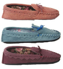 LADIES MOCASSIN STYLE GENUINE SUEDE SLIPPER WITH TEXTILE LINING BOW TRIM