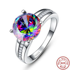 Unisex Rainbow & White Topaz 100% 925 Sterling Gemstone Silver Ring Size 6 7 8 9