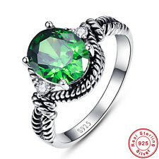 Noble Emerald & White Topaz 100% S925 Sterling Gemstone Silver Ring Size 6 7 8 9