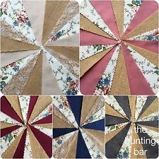 HESSIAN FABRIC BUNTING HANDMADE  WEDDING VINTAGE COUNTRY FLORAL SHABBY CHIC LACE