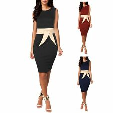 Women Bandage Bodycon Sleeveless Evening Formal Business Party Pencil Midi Dress