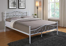 New White Metal Bed Frame and with Double King Size Mattress 4FT6 5FT Headboard