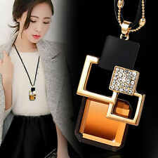 Fashion Geometry Square Crystal Pendant Statement Chain Chunky Choker Necklace