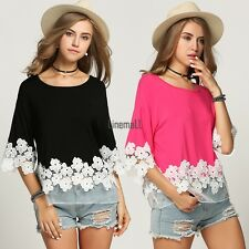 New Fashion Womens Ladies Floral Lace Casual Tops Shirts Blouse T-shirts LM