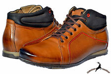 Mens Buffalo Leather Handmade Sports Shoes Ankle Boot Winter Autumn Lace Up Warm