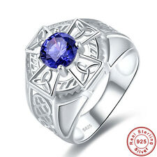Round Cut Solitare Tanzanite 100% 925 Sterling Gemstone Silver Ring Size 6 7 8 9