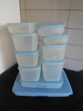 TUPPERWARE FREEZER MATES  CONTAINERS PALE BLUE LIDS X 10 IN ALL