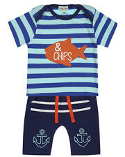 Lilly and Sid Baby Boy Fish 'n Chips Jersey T-Shirt & Shorts Set