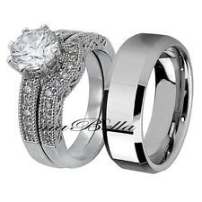 3 Pcs His Tungsten Hers .925 Sterling Silver CZ Wedding Engagement Ring Band Set
