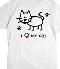 I Heart - Love - My Cat Shirt, Paw Prints & Red Heart Cat Shirt, Small - 5X