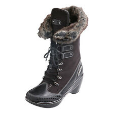 Nordic Fur-Lined Tall  Suede Heeled Boots