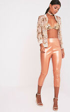 PrettyLittleThing Womens Ladies Daysha Bronze Cropped Leather Trousers Pants