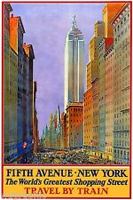Fifth Avenue, New York Vintage Travel Reproduction Canvas Print 20x30