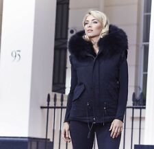 POPPY LONDON BLACK PARKA GILET WITH RACCOON FUR COLLAR SMALL