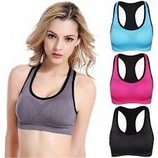 Women's Full Coverage Padded Bra Fit Jogging Sports Stretch Racerback Crop Top