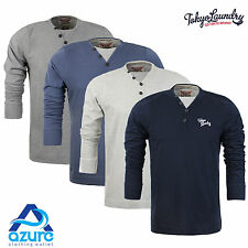 Mens Long Sleeve Top by Tokyo Laundry Button V-Neck 100% Cotton Sizes S - XXL