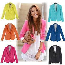 Fashion Women Long Sleeve Blazer Suit Casual Jacket Coat Outwear Candy Color