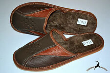 Mens Real Thick Leather Slippers Shoes Sandal Handmade Poland Wool Warm Scuff