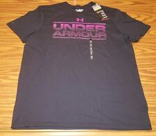 NWT Mens Under Armour Black & Pink Loose Cotton Charged HeatGear T-Shirt 1283542