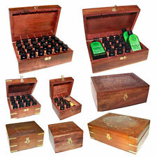 Aromatherapy Oils Wooden Storage Box - Various Sizes & Bottles Compartments