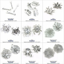 Antique Silver Tone Arts Jewelry Making Charms Spanner Speaker Spider Net Cobweb