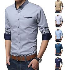 Mens DRESS SHIRTS Extra Slim Fit Stretch Cotton Button Down Long Sleeve Casual