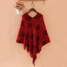 Ladies Poncho Knitted Hollow Cardigan Oversized Cloak Coat Batwing Cape Sweater