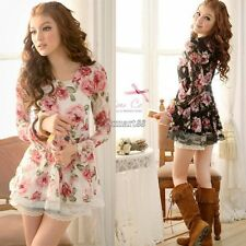 Women New Long Sleeve Rose Flower Shirts Blouses Prints Lace Casual Tops OK