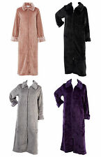 Slenderella Ladies Zip Up Ribbed Style Dressing Gown Womens Faux Fur Collar Robe