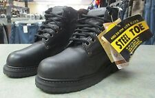 Knapp Mens Black Leather Steel Toe Slip Resistant Work Boots NEW