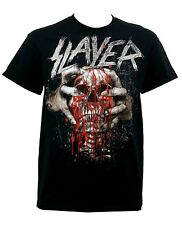 Men's Officially Licensed SLAYER Skull Clench Band Graphic T-Shirt Black Metal