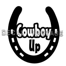 Horseshoe Cowboy Up Vinyl Sticker Decal Luck Horse Shoe  Choose Size & Color