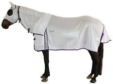 CARIBU Euro-Lite140gsm FLY AIR MESH Attached Hood Horse Rug, Cool, WHITE