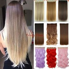 100% Natural 5Clips 4/3 full head clip in on hair extensions Straight Wavy H92