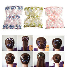Women's Fashion Flower Bead Magic Double Comb Stretchy Hair Combs Insert Clips