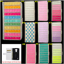 Bling Crystal Magnetic Diamonds PU leather flip slots wallet case cover skin HA