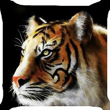 """Tiger face big cat wild alert animal forest 2 side pillow cushion cover 18"""""""