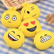 Cute Womens Girls Emoji Faces Silicone Wallet Key Coin Purse Rubber Pouch Case