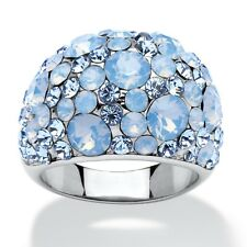 PalmBeach Jewelry Blue Crystal Ring MADE WITH SWAROVSKI ELEMENTS Stainless Steel