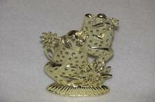 Gold Double Frog Earring Display Tree Stand EUC