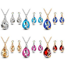 Waterdrop Pendant Rhinestone Inlaid Necklace Earrings Jewelry Set Intriguing