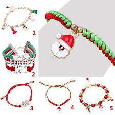 Xmas Charming Candy Glass Beads Stocking Santa Claus Deer Christmas Bracelet C32